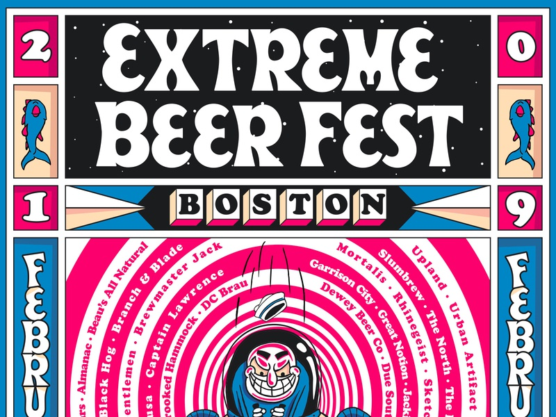 BeerAdvocate Extreme Beer Fest 2019 blue and white craft brew blue typecon illustration poster craft beer beeradvocate massachusetts beer boston