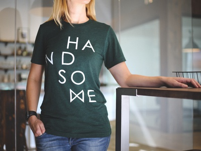 Handsome Shirts handsome design green logo t-shirt