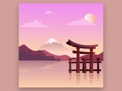 JAPAN IN 2D icon vector graphic design typography design illustration
