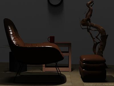 Leather chair spot light Interior interior design illustration design concept 3d