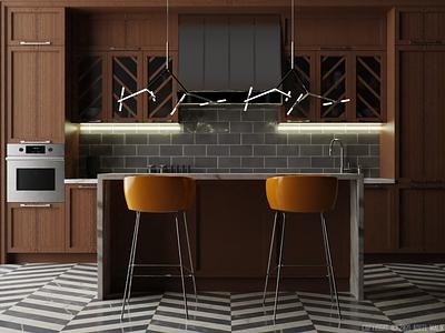 Modern Kitchen Interior concept interior design illustration design 3d