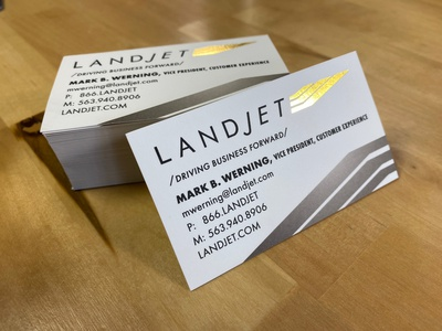 Landjet Business Cards (Gold Foil Stamped)