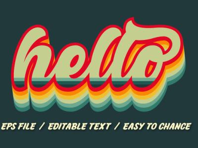 Retro text effect for tshirt logo design pop