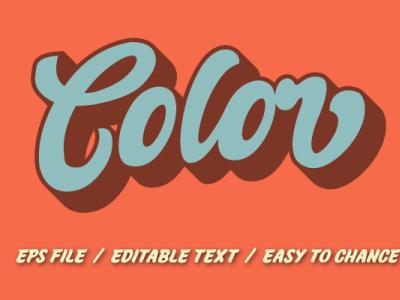 3d 70s retro color for t-shirt logo design pop