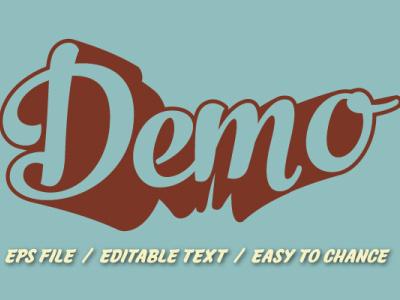 3d 70s retro demo for t-shirt logo design pop