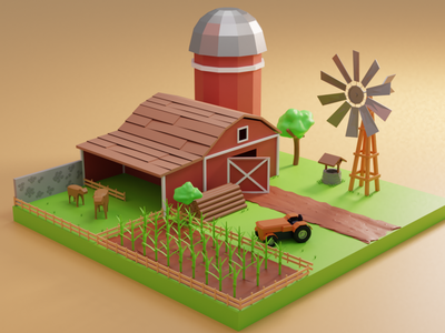 Farm 3d models motion graphics graphic design 3d animation