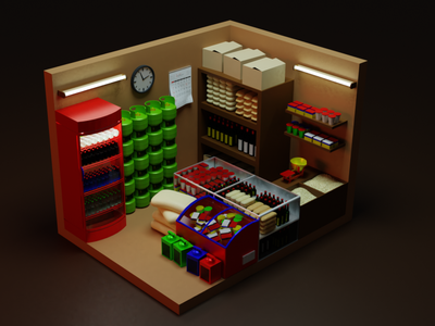 grocery store 3d models logo motion graphics graphic design 3d animation