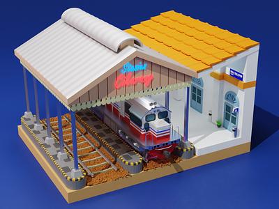 station 3d models logo motion graphics graphic design 3d animation