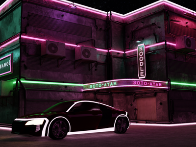 City cyberpunk logo motion graphics vector branding graphic design 3d animation