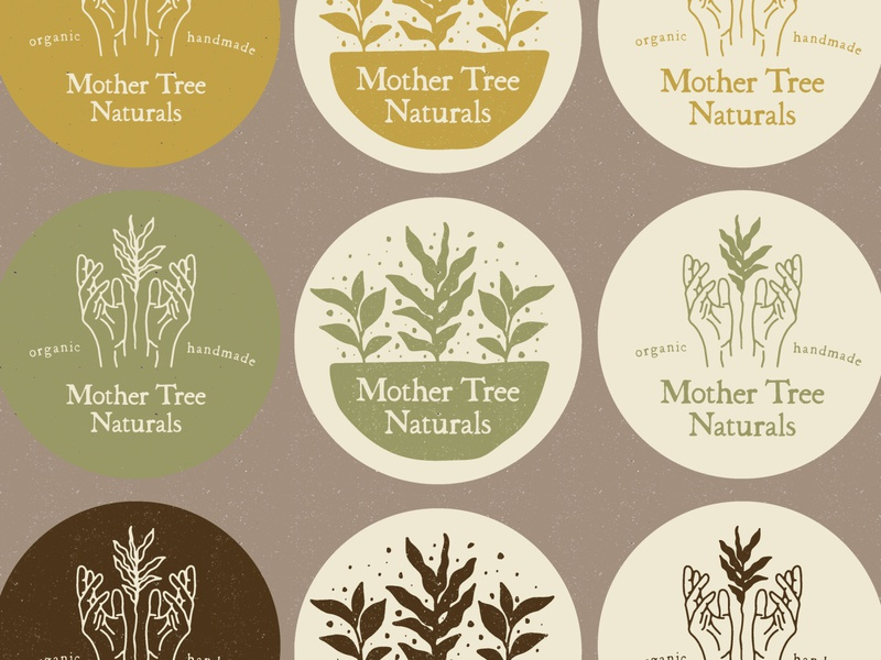 MTN organic handmade hands plants typography type logo branding illustration
