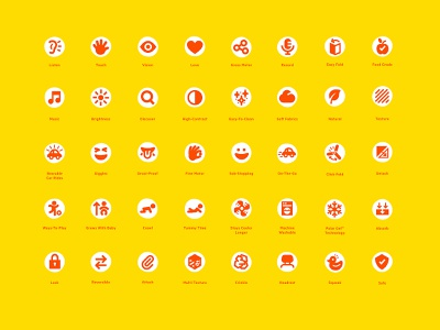 Icon direction for Bright Starts, baby toy brand design branding icons iconography illustration icon