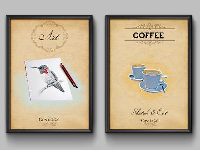 Cafe Boutique Artwork print design boutique cafe graphic design poster poster design cafe art restaurant artwork cafe