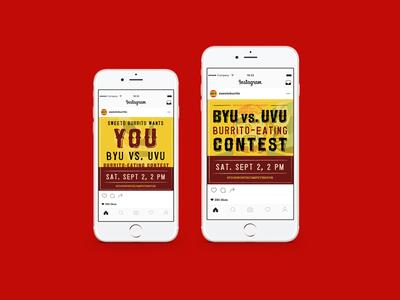 Social Media Posts for Fast Food Event instagram event design ad design social media design fast food burrito