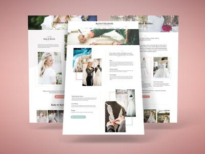 Website Design for Wedding Dress Designer wedding about us process page graphic design web design wedding website