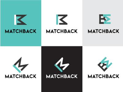 MatchBack Logo Design Variations bm b logo m logo logo design match matchmaking branding monogram logo turquoise