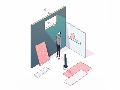 The Rescue space character sp brasil green pink perspective isometric colors