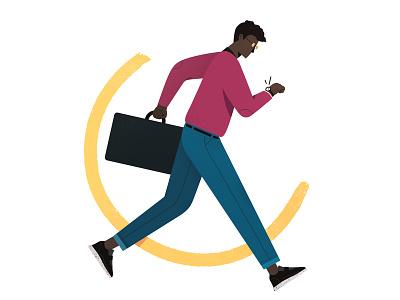 Running Late corporate brazil sp vector colors flat ui illustration