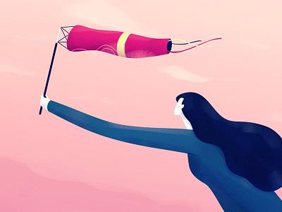 Wind Catcher paulo sao brazil emotional flat texture vector illustration colors