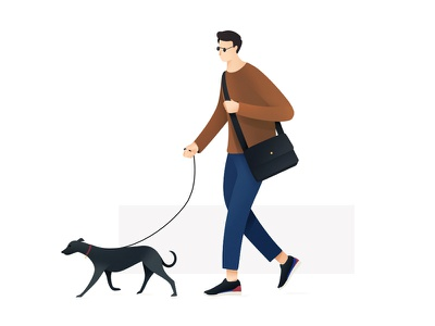 Dog Walker fashion brazil vector illustration gradient texture colors dog