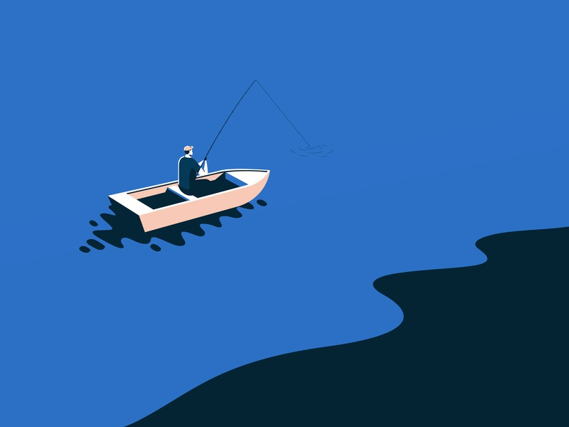 Fisherman editorial co são paulo brazil shapes vector branding color illustration