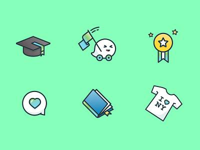 Waze Carpool – College product illustration design ui brazil art direction stroke gradient color iconset college icons waze