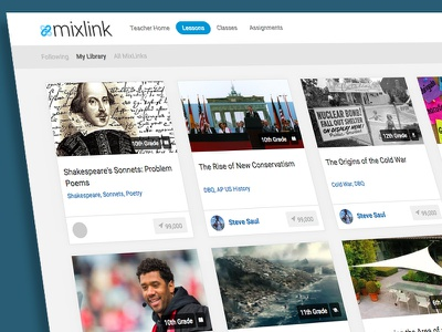 Browse Page for MixLink Lessons mixlink responsive ui edtech education technology education