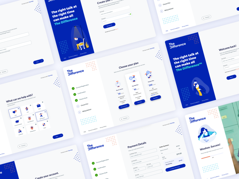 TheDifference Web App Onboarding Collection onboarding illustration onboarding screens onboarding ui onboarding dashboard web app design web design web app web design illustration app blue