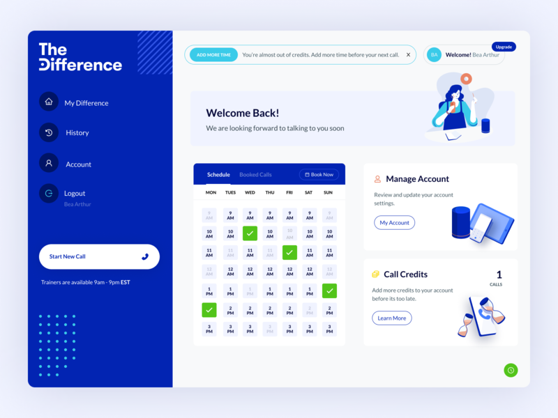 TheDifference Customer Dashboard therapist therapy dashboard design dashboard app dashboard ui dashboard web application design web application web app dashboard web app design web apps web app design illustration blue