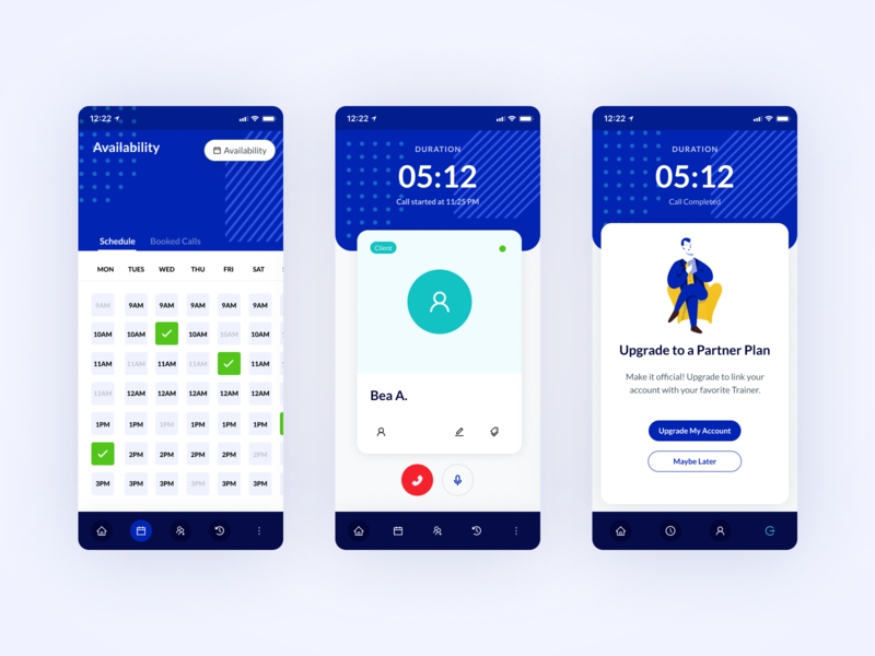 TheDifference Mobile Therapist Scheduler mobile application mobile app design mobile design mobile app mobile ui crm notes calendar ui calendar scheduler therapist mobile app blue