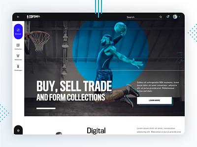 NBA Top Shots - Web Concept 1 dark ui dark blue sports branding sports design webdesign web app website trading cards crypto sports nba