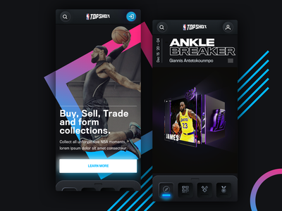NBA Top Shots Mobile Concept  2 nba basketball sports app sports design sports mobile app design mobile design mobile app mobile ui mobile neomorphism