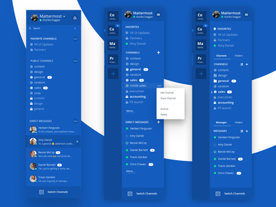 Mattermost Sidebar Discovery app sidebar blue open-source chat messaging team group mattermost