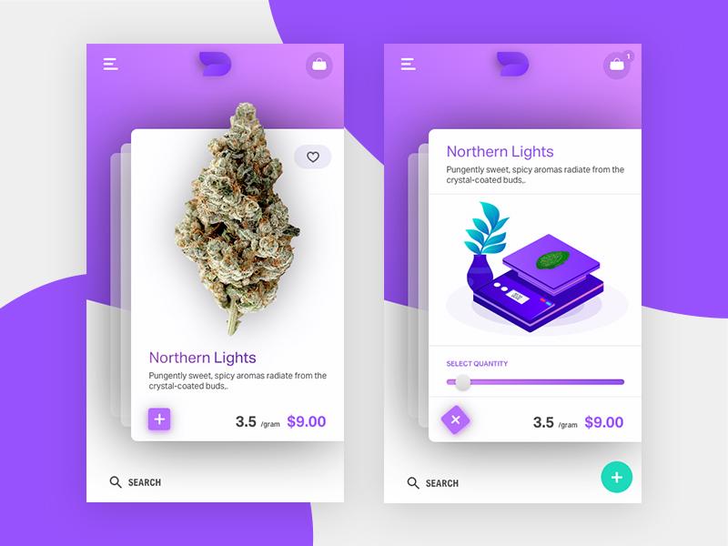 Cannabis Shopping Mobile App Concept interfac gradient purple app ux ui mobile marijuana cannabis