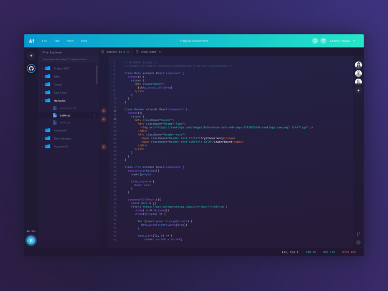 Coder IDE Concept - Code Editor uiuxdesign uiux ui dark art code editor cloud code dashboard dark web gradient purple green blue
