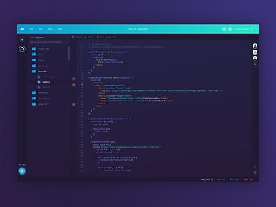 Coder IDE Concept - Code Editor uiuxdesign uiux ui dark art code editor cloud code dashboard dark web gradient purple green blue