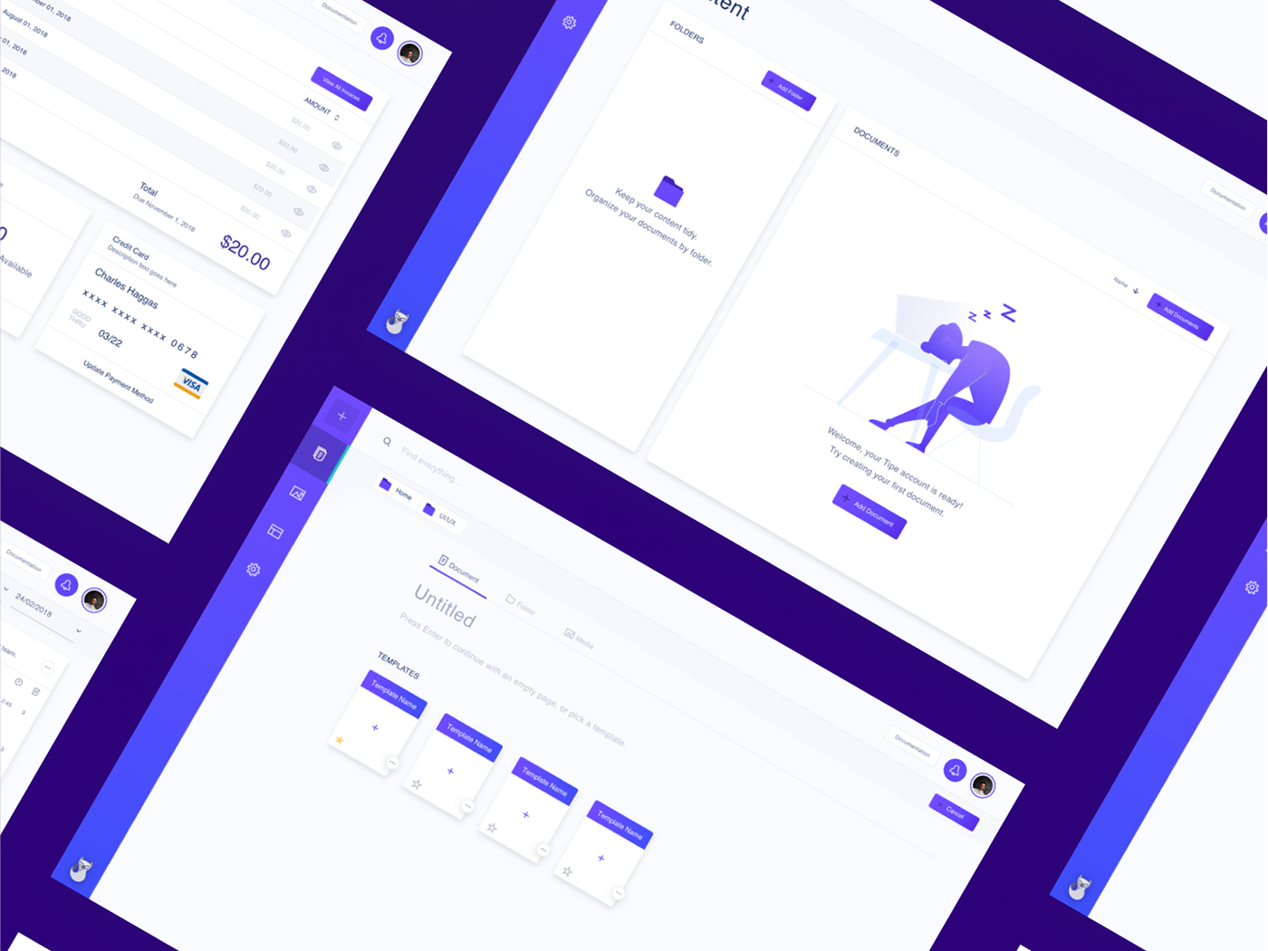 Tipe Web App UI/UX Showcase app dashboard app purple tipe web application web app design web app