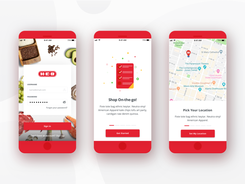 H-E-B Delivery Mobile App - Onboarding app design ui design grocery food delivery app delivery mobile app design mobile app ui  ux red food app grocery app