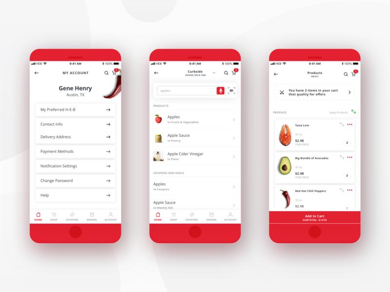 H-E-B Delivery Mobile App - Random Screens mobile ui ui design app design mobile app design mobile app red delivery app delivery grocery food grocery app food app