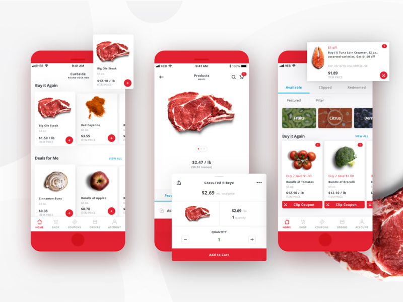 H-E-B Delivery Mobile App - Shopping app mobile design mobile app mobile app design grocery app grocery food food app delivery app ui ux design ui design red