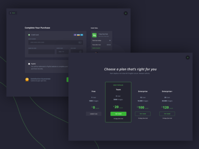 Gipper - Pricing and Checkout checkout page pricing table pricing plans pricing page dark web app dark interface dark ui checkout pricing dark green