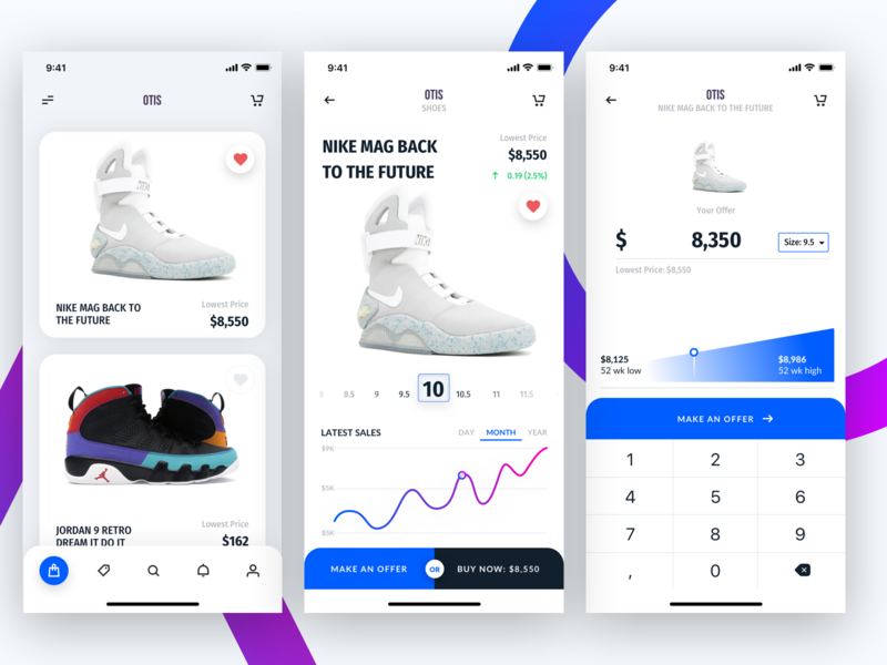 Otis Sneaker Bid Flow clean app design app design blue mobile app mobile shopping sneaker shopping shop app shopping shop ecommerce app ecommerce clean app clean mobile app experience mobile app design mobile app mobile sneakerhead sneakers sneaker
