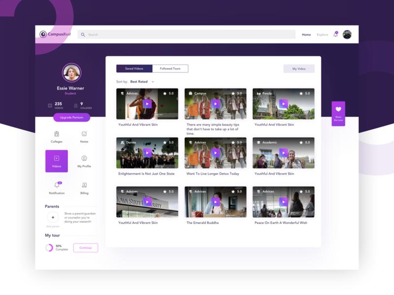 CampusReel Dashboard sketch app ui web design web app campusreel purple ui purple web dashboard user dashboard admin dashboard videos dashboard video dashboard ui dashboard