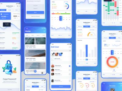 Joule Mobile App Screens data viz analytics charts graphs energy mobile app design mobile design mobile app mobile ui design ui mobile gradient app blue