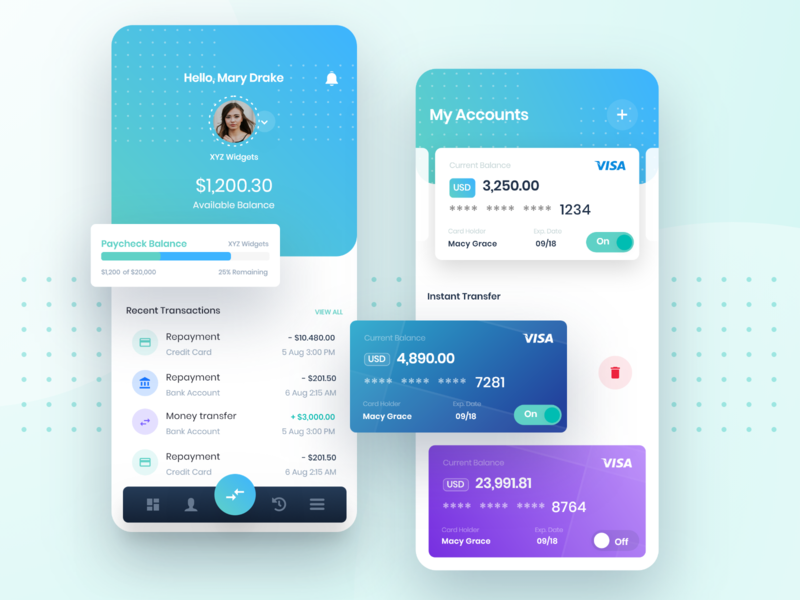 Tapcheck Dashboard finance app interface design mobile app payment app payment transfer funds payroll finance design ui dashboard mobile gradient green app blue