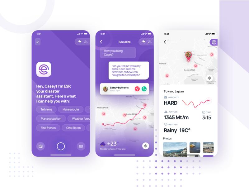 Disaster Concierge App ESP disaster uxui ux ui gradient purple design app mobile app concierge messaging chat map conversational ui conversational disaster app