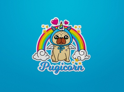 Pugicorn Sticker