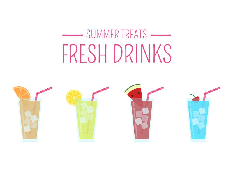Summer Treats - Fresh Drinks 2d animation icon sticker design ui logodesign avatars vector design graphic design logo branding icons icongraphy illustration