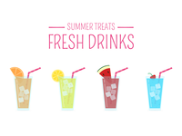 Summer Treats - Fresh Drinks 2d animation icon sticker design ui logodesign avatars vector design graphic design logo branding icons icongraphy illustration