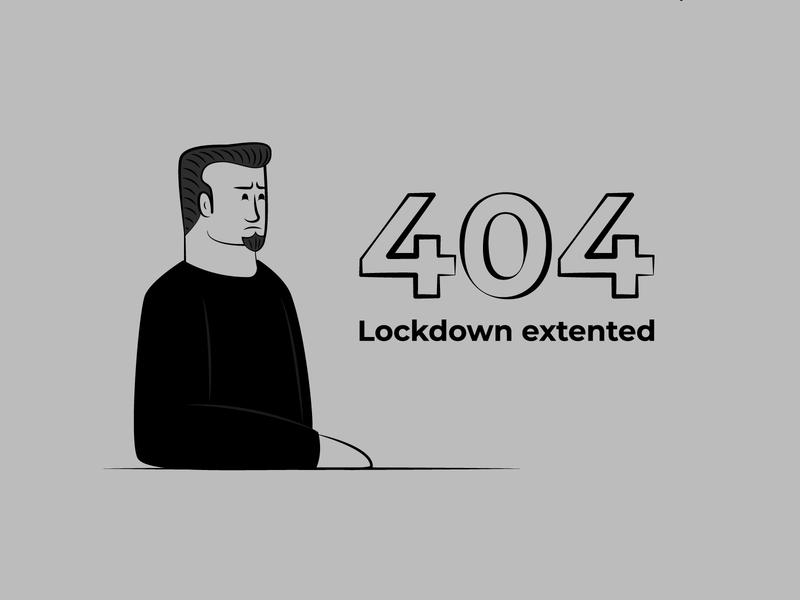 404 Error - Lockdown Extended logo avatars logodesign character design branding icons design icongraphy graphic design illustration