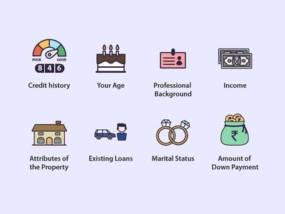 Icon Set 3 - Factors Impacting Home Loan Eligibility